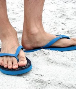 black-blue-flip-flops